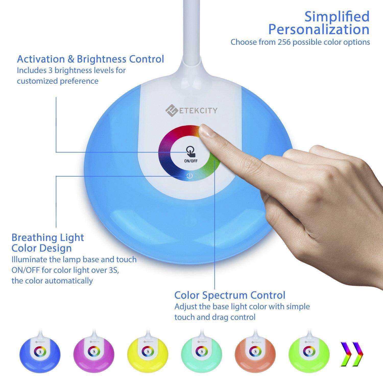 Etekcity LED Desk Lamp with Flexible Gooseneck Adjustable Brightness Level Night Light, 1000mAh Rechargeable Eye-caring Colorful Table Light with USB Port Touch Control (256 Base Color) by Etekcity (Image #2)