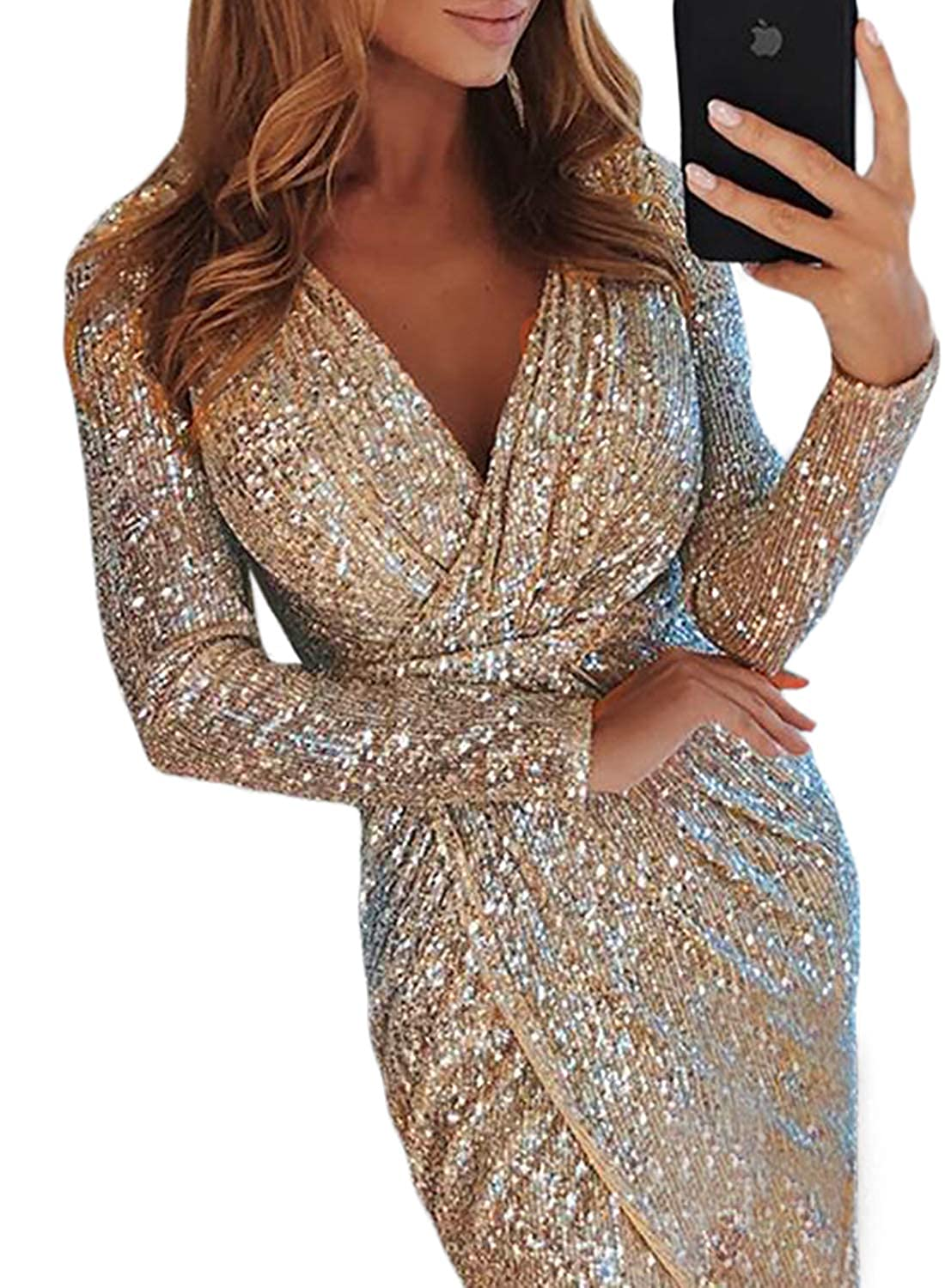 7d7df725dc28 ... Elegent Sexy V Neck Sequins Wrapped Ruched Irregular Long Sleeve Formal  Homecoming Party Cocktai Dress Apricot Small at Amazon Women's Clothing  store: