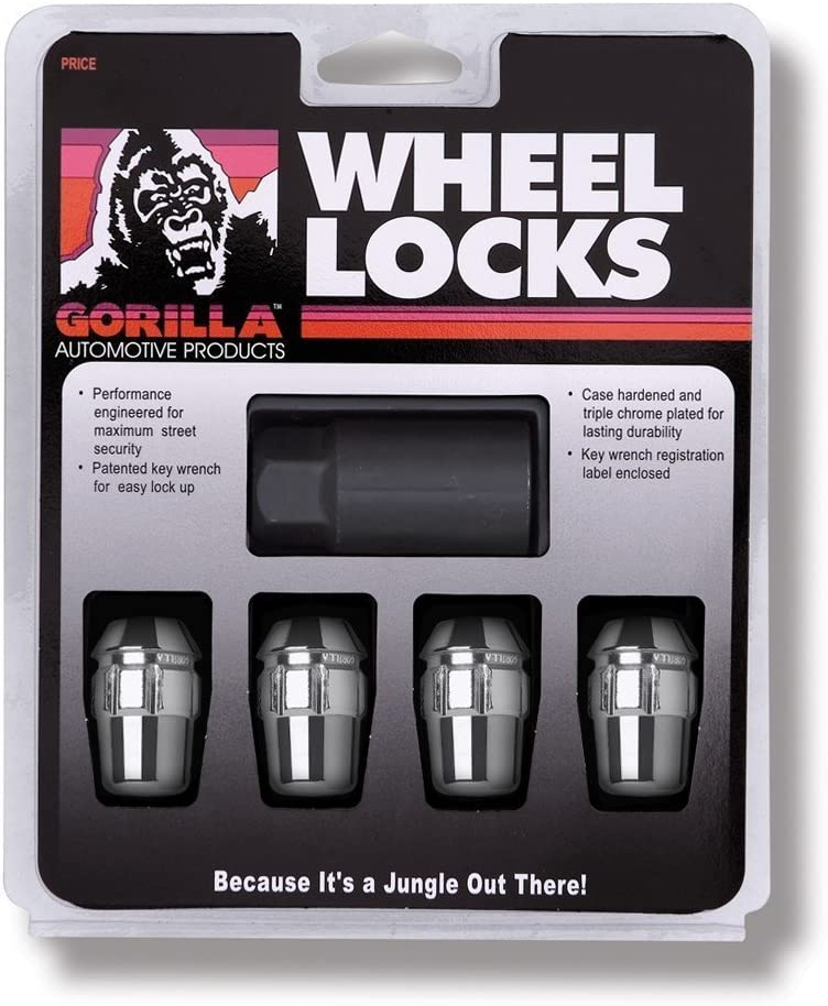 "Gorilla Automotive 71681N Acorn Wheel Locks (1/2"" Thread Size) - Pack of 4"