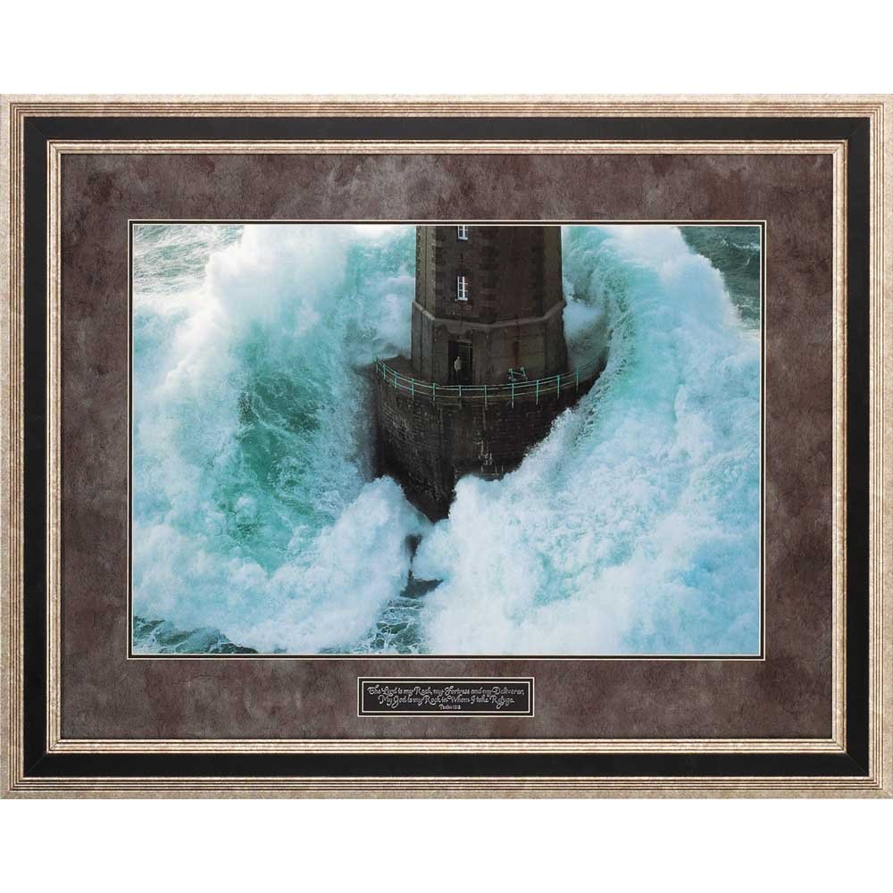 Dicksons Lord Is Rock, Fortress, Deliverer Lighthouse 25 x 33 Wood Wall Sign Plaque