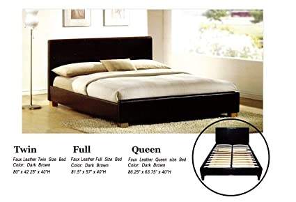 Amazon.com: Faux Leather Platform Bed with Built In Box Spring and ...