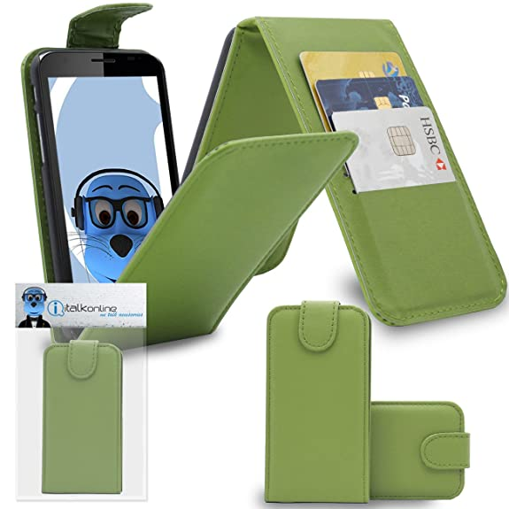Green PU Leather Vertical Flip Wallet Case Cover Organiser with Credit / Business Card Holder for