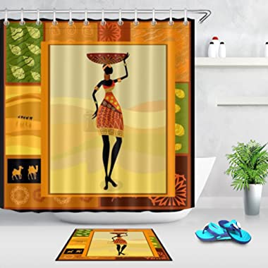 LB Black African Tribal Woman Pattern Print Africa Culture Design Shower Curtain Bath Rug Set, 70x70 Shower Curtain Waterproof Mildew Resistant, 15x23 Microfiber Surface Rug