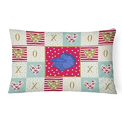 Caroline's Treasures CK5468PW1216 Delta Tail Betta Fish Love Canvas Fabric Decorative Pillow, 12H x16W, Multicolor : Garden & Outdoor
