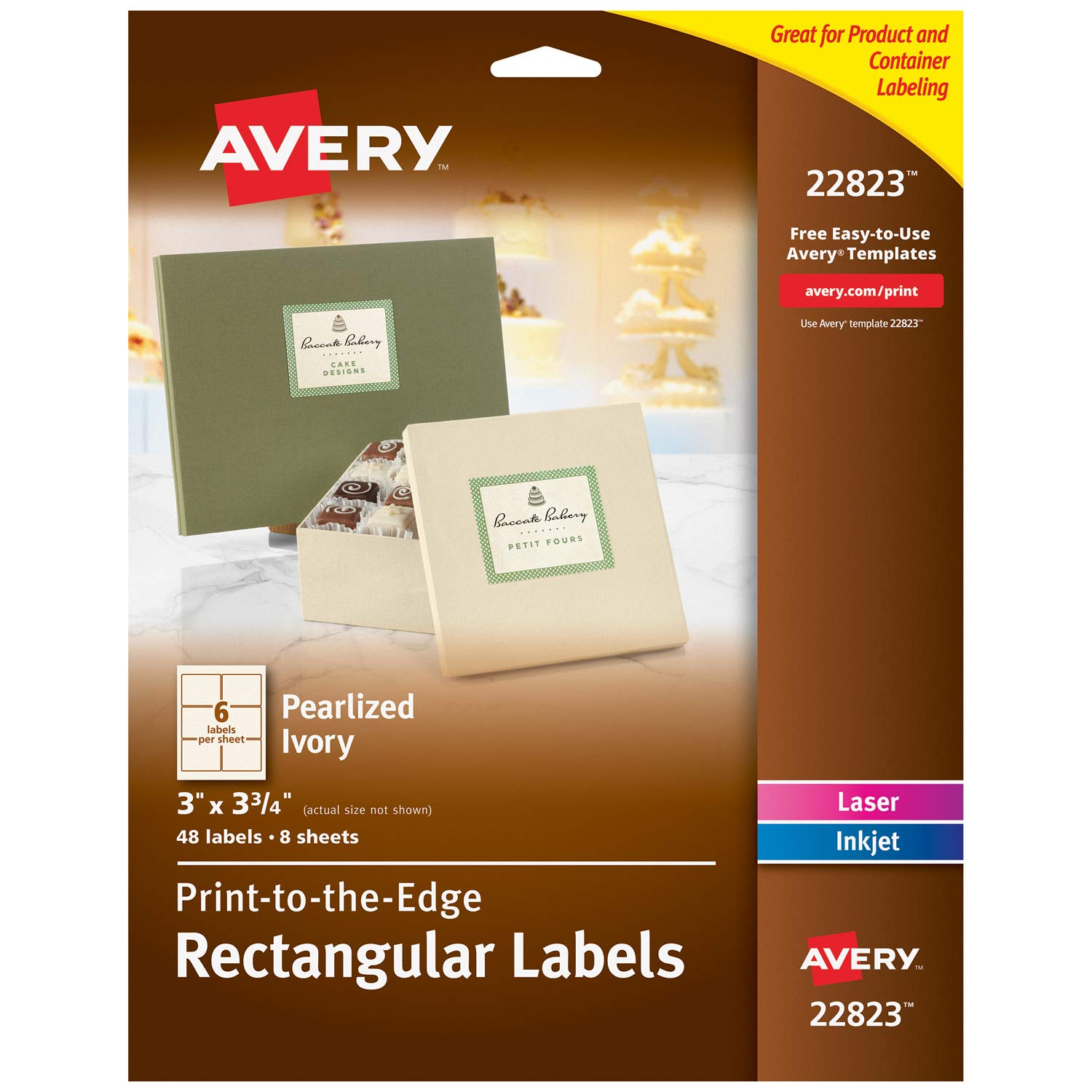 Avery Pearlized Ivory Rectangle Labels for Laser & Inkjet Printers, 3'' x 3.75'', 48 Labels (22823) by AVERY