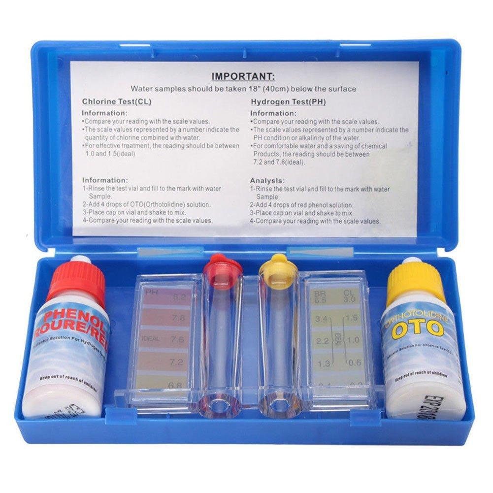 Symboat 1 Set PH Chlore Kit de Test de Qualité de l'Eau Hydrotool Kit d'Accessoires pour Piscine