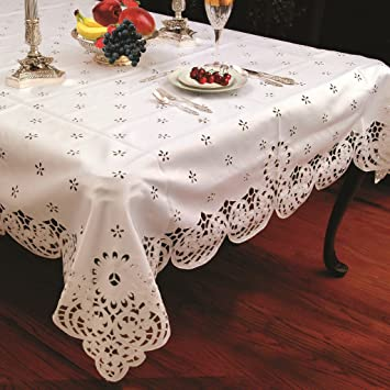 Violet Linen Daisy Design With Cutwork Tablecloth, 70u0026quot; Round, ...