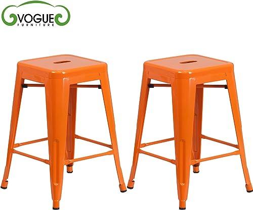 Vogue Furniture Direct Barstool 30 Backless Metal Stools Orange Set of 2 -VF1571007