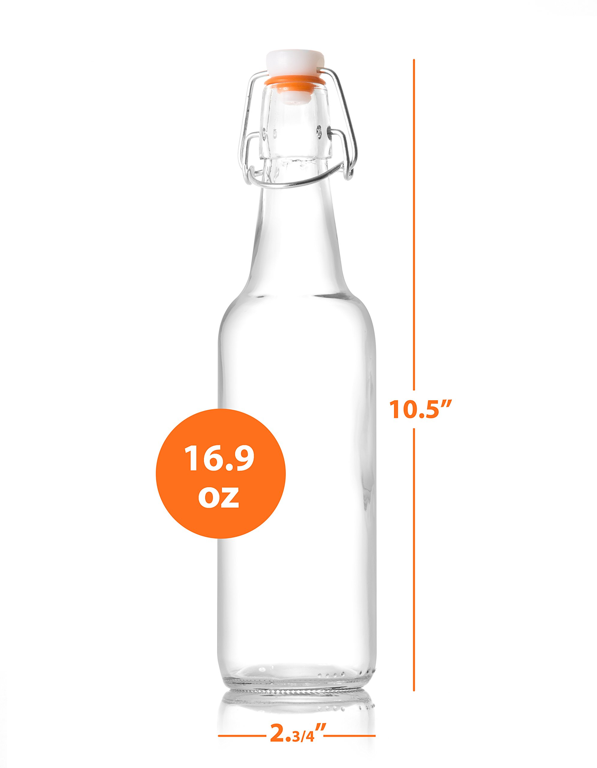 Zuzoro Glass Kombucha Bottles For Home Brewing Kombucha Kefir or Beer - 16 oz Clear Glass Grolsch Bottles case of 6 w/ Easy Swing top Cap w/ Gasket Seal Tight by Zuzuro (Image #4)