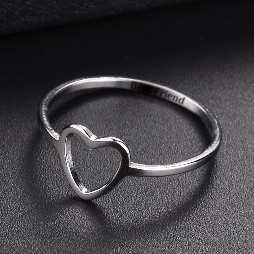 Aunimeifly Womens Love Heart Style Best Friend Promise Ring Gifts for Girls Eternal Friendship Jewelry