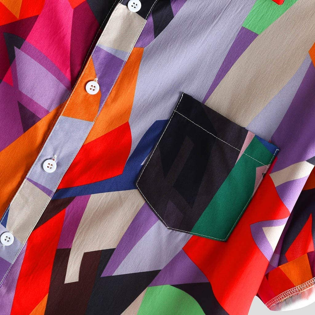 GDJGTA Tops for Mens Short Sleeve Cotton Linen Printed Turn Down Collar Loose Casual Shirt Top