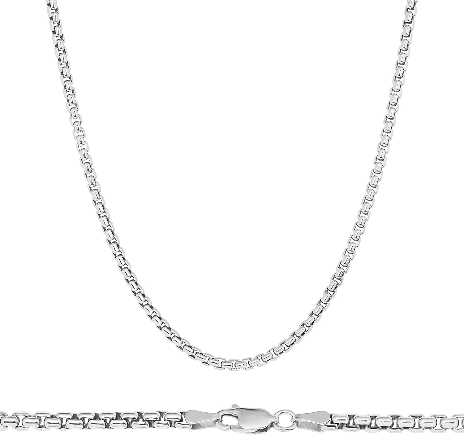 NYC Sterling Unisex Solid Italian 3mm Round Box Chain in Sterling Silver