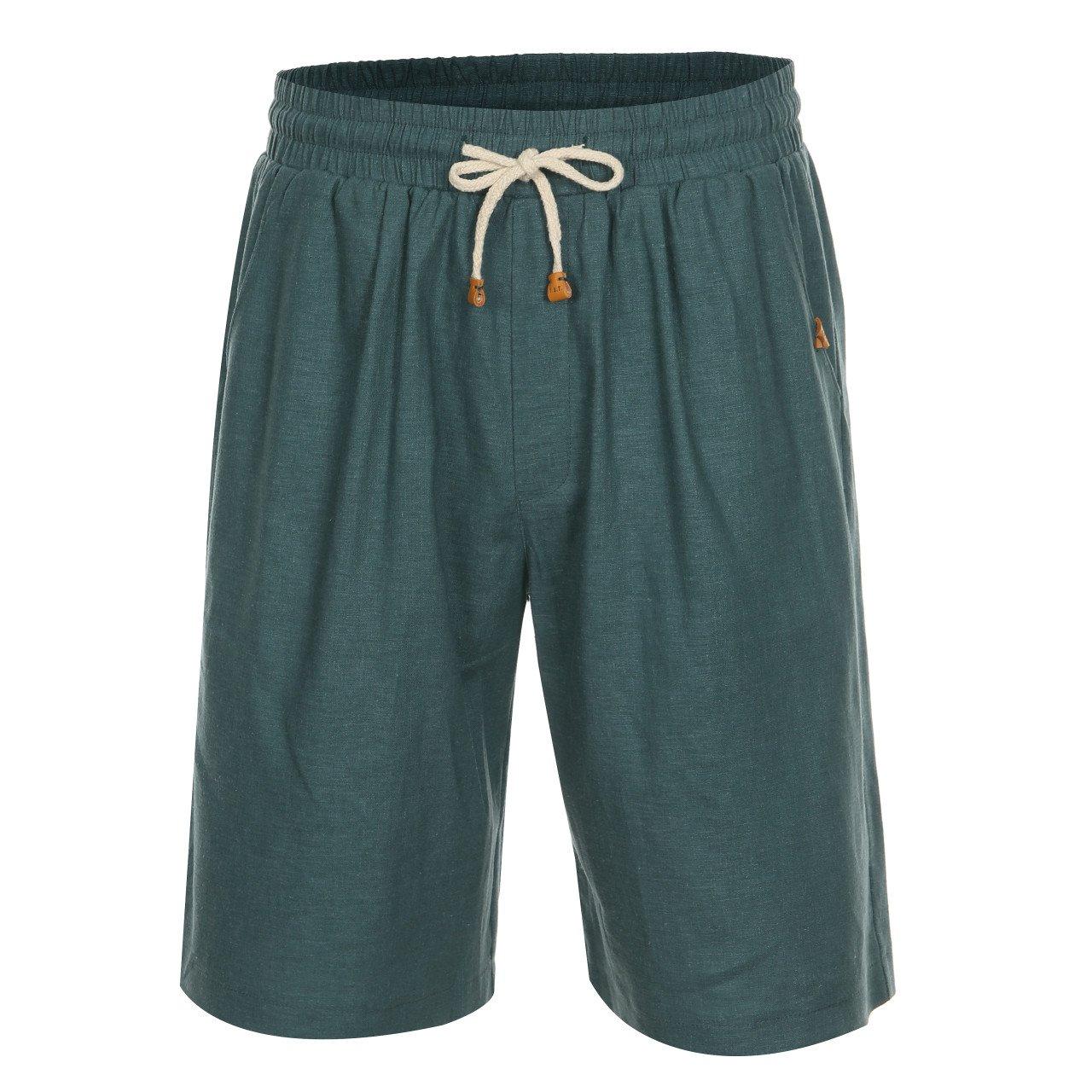 T.B.T. Men's Casual Basic Linen Shorts Elastic Waist Band Drawstring (A71S01-BLUEGREEN-L)