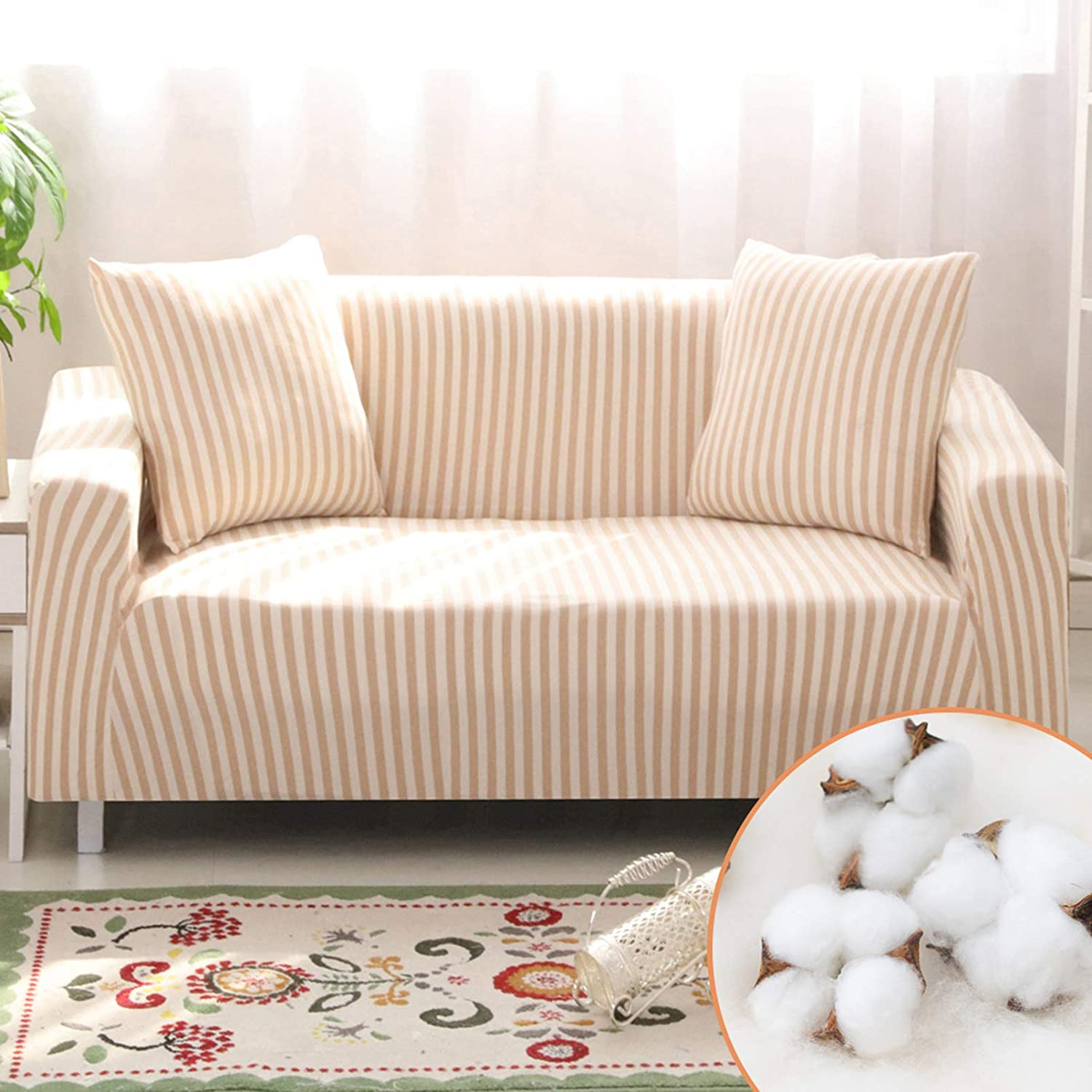 Homcosan Stretch Sofa Slipcovers Cotton Pattern Stripe Sofa Cover with 2 Pillowcases for 3 Cushion Couch Furniture Pet Protector Anti-Slip Stylish Sectional Couch(Mocha, Sofa-3 Seater)