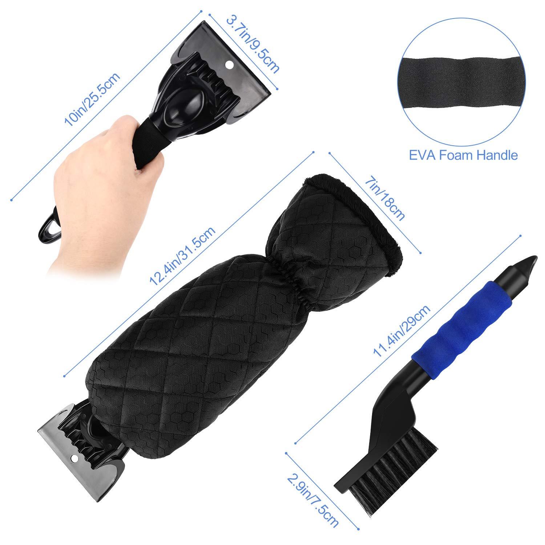ABS rasqueta Cepillo de Nieve con EVA Guante Forrado Rascadores de hielo para Parabrisas de Coches SUV Autos Cami/ón y Camionetas Gafild Raspador de Hielo Guante