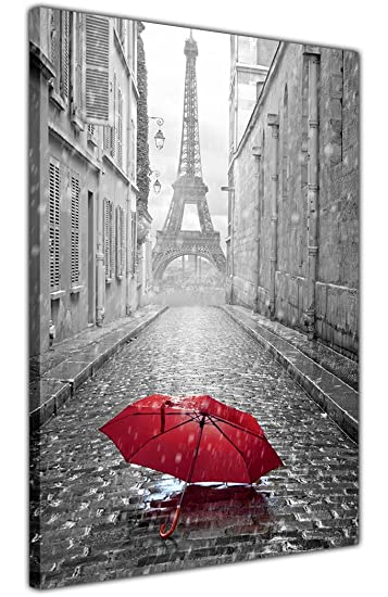 CANVAS IT UP Schwarz Und Weiß Paris Eiffelturm Foto Mit Rot Regenschirm  Kunstdruck Auf Leinwand Home