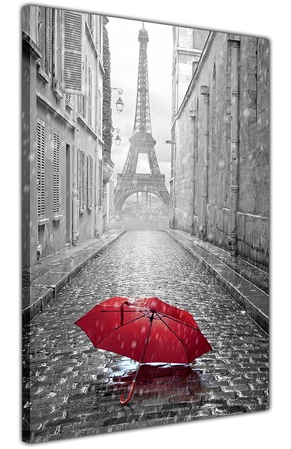 Lienzo en blanco y negro, foto de París y la Torre Eiffel con paraguas rojo, decoración del hogar, lona, negro/rojo/blanco, 02- A3 - 16