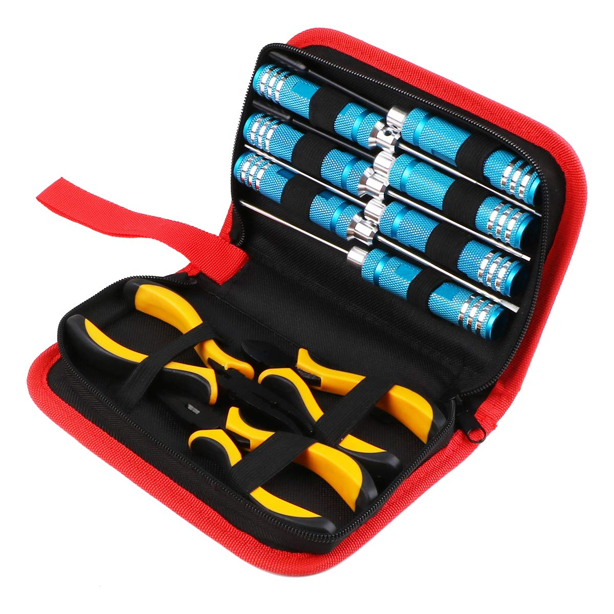 Bench Work Hex Screwdrivers RC Screwdriver Tools Kit H1.5, H2.0, H2.5, 0+, 1-, 4.0 Box, 5.0 Box High Speed Steel for RC Model Robotics 7 Pieces Hex Driver Precision Engineering