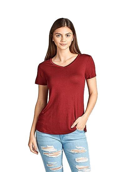 5b5a71fcd7b Emmalise Women s Comfy Soft Flowy Tee Shirt Short Sleeves Vneck Tee Top -  Burgundy