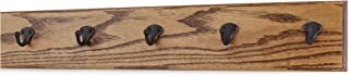 """product image for PegandRail Oak Wall Mounted Coat Rack with Aged Bronze Singular Style Hooks 4.5"""" Ultra Wide (Chestnut, 25.5"""" x 4.5"""" with 5 Hooks)"""