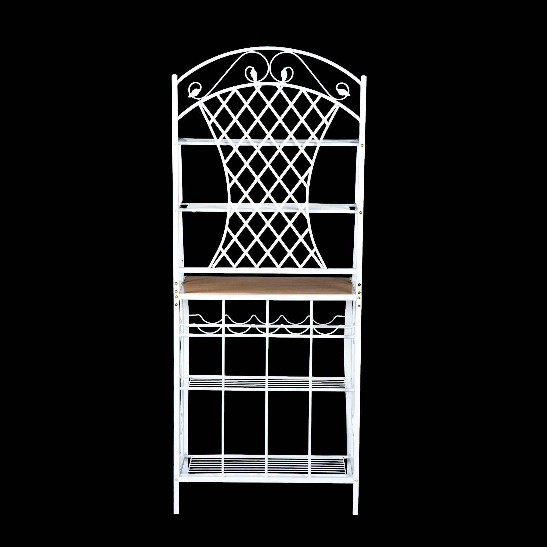 Southern Enterprises Trellis Bakers Rack with Scroll Work, White with Oak Finish by SEI (Image #7)