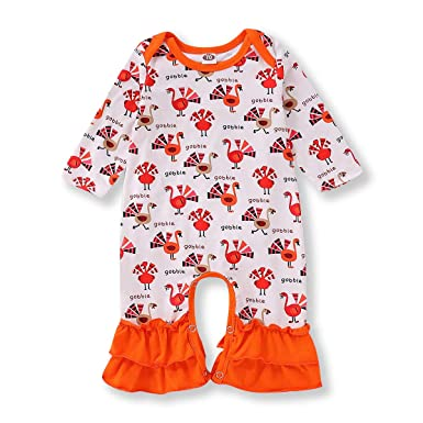 4b756e2fbfde Unmega Baby Girl Boy Thanksgiving Romper Turkey Gobble Bodysuit Flare Pants  Clothes Outfit (Off-