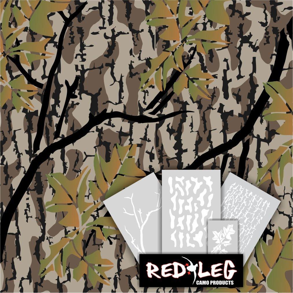 Redleg Camo 3 Piece Duck Grass Camo Stencil Kit (Fall Woods)