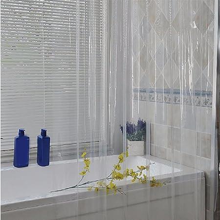 HQLCX-Shower curtain Cortinas De Ducha Engrosamiento Moho - Prueba A Prueba De Agua Wc Ducha Cable Cuarto De Baño Mampara De Plastico Transparente Cortina,180X200: Amazon.es: Hogar