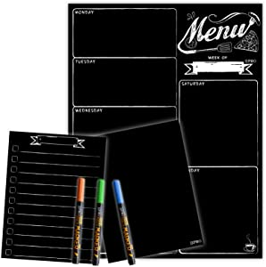 Magnetic Menu Board for Fridge with neon bright liquid chalk markers - Weekly Meal Planner with Grocery List and Notepad Chalkboard Set for Kitchen Refrigerator - Premium dry earse magnetic blackboard