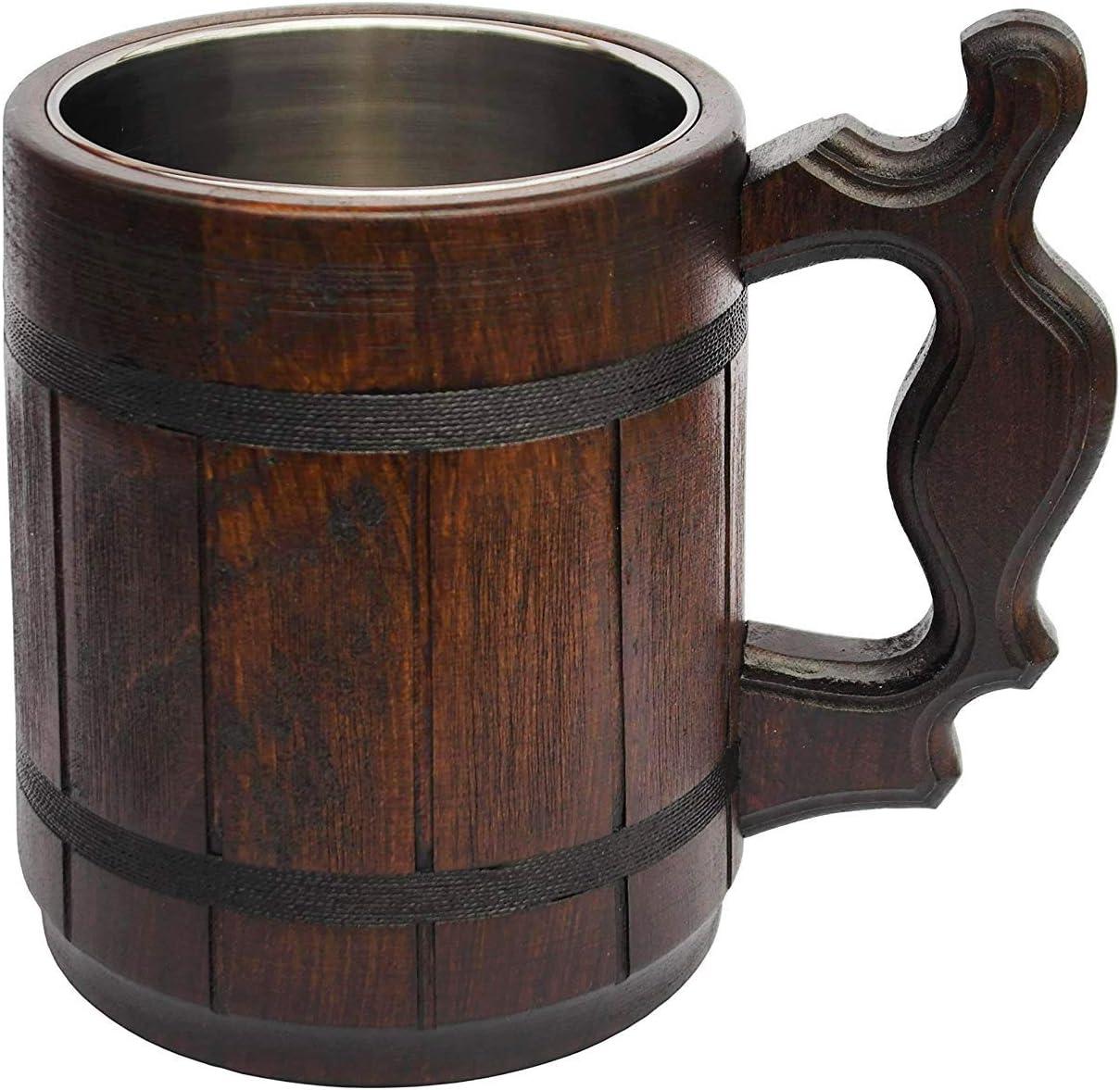 Wood Carving Beer Mug of Wood Great Beer Gift Ideas Wooden Beer Tankard for Men Capacity 20oz Handmade Beer Mug Oak Wood Stainless Steel Cup Carved Natural Beer Stein Old-Fashioned Brown 600ml