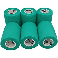 Venda Cohesiva Verde 6 Rollos x 7,5 cm x 4,5 m Autoadhesivo Flexible Vendaje, Calidad Profesional, Primeros Auxilios…