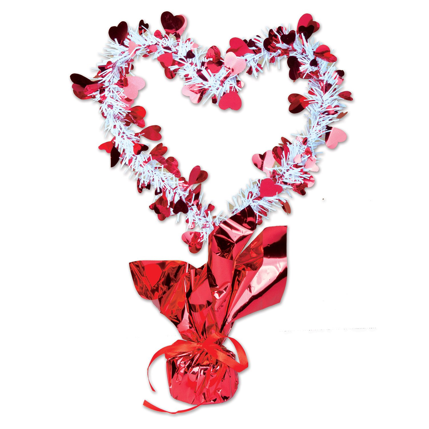 1//Pkg red /& white Party Accessory 1 count Heart Gleam N Shape Centerpiece