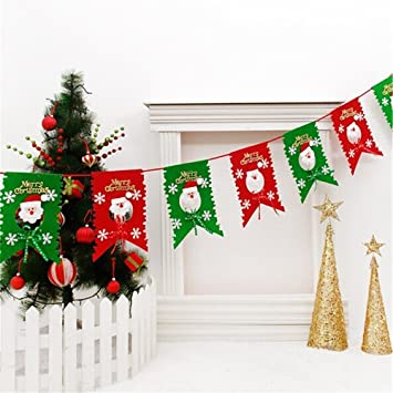 6 Pcs Christmas Flag Hanging Party Santa Claus Snowman Pattern Flags Banners Kits Decorations For