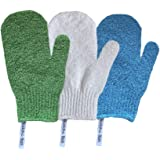 Buddha Bath Scrub Gloves - 3 pairs of exfoliating shower mitts - Washable - Hang Rope - Face and Body - For Men and Women