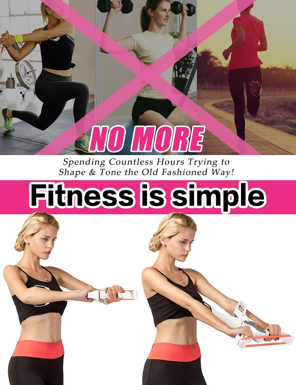 Wonder Arms Workout System - Home Workouts Arm Exercise with 3 Resistance Training Bands Martiount Upper Arm Exerciser Strength Training Equipment Arm Machine Workout Tone Arm and Chest 3 Resistance Band System Arm Weights for Women and Men