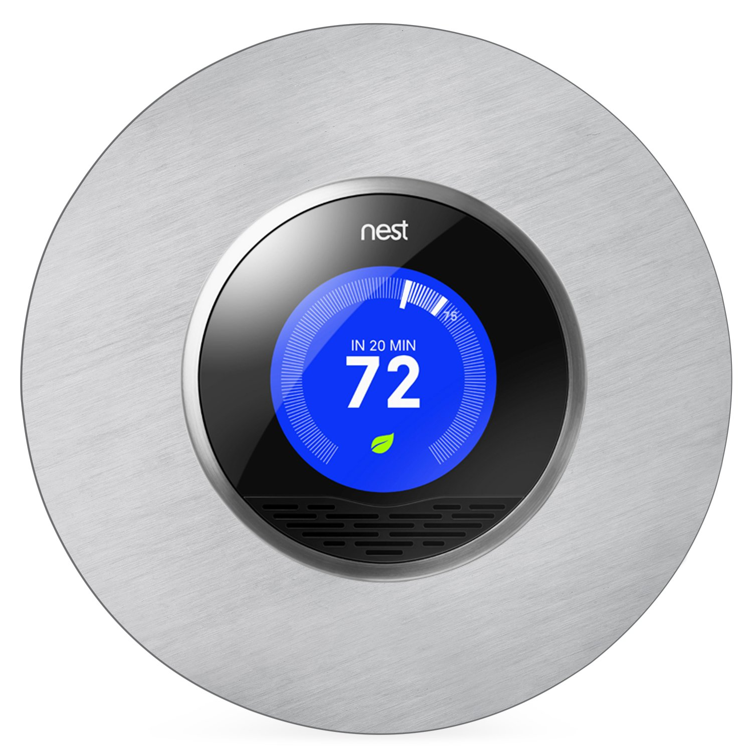 Beautiful Round 6'' Wall Plate Cover for all 2nd and 3rd Generation Nest Thermostat by Wasserstein (Stainless Steel)