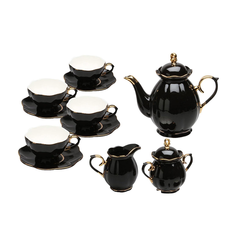Grace Teaware 11-Piece Porcelain Scallop Tea Set (Black Gold) TS-35081BG-11