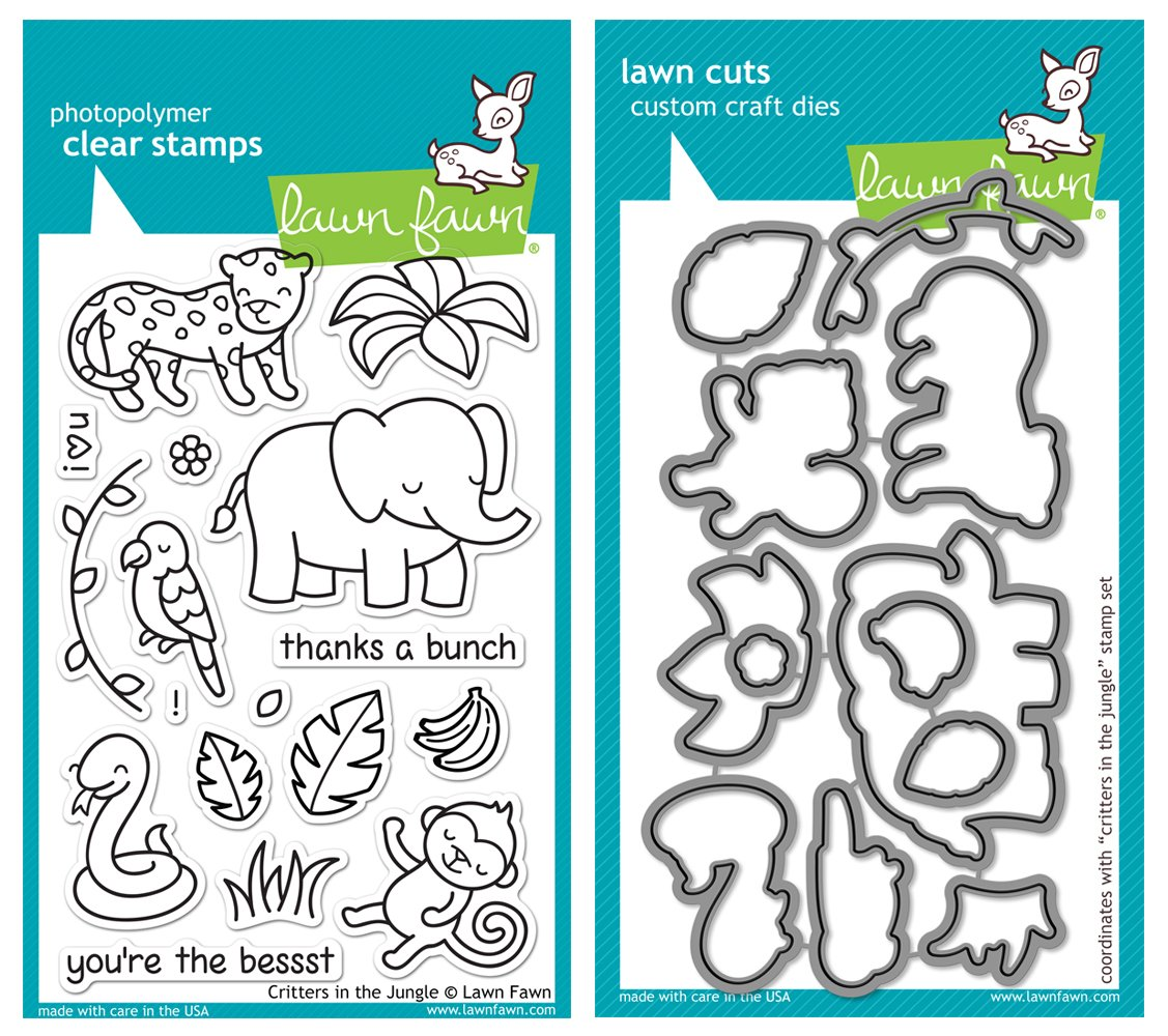 Lawn Fawn Critters in the Jungle Stamp and Die Bundle - Two Items