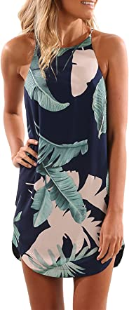 Blooming Jelly Women's Sleeveless Printed Flower Style Casual Floral Mini Dress