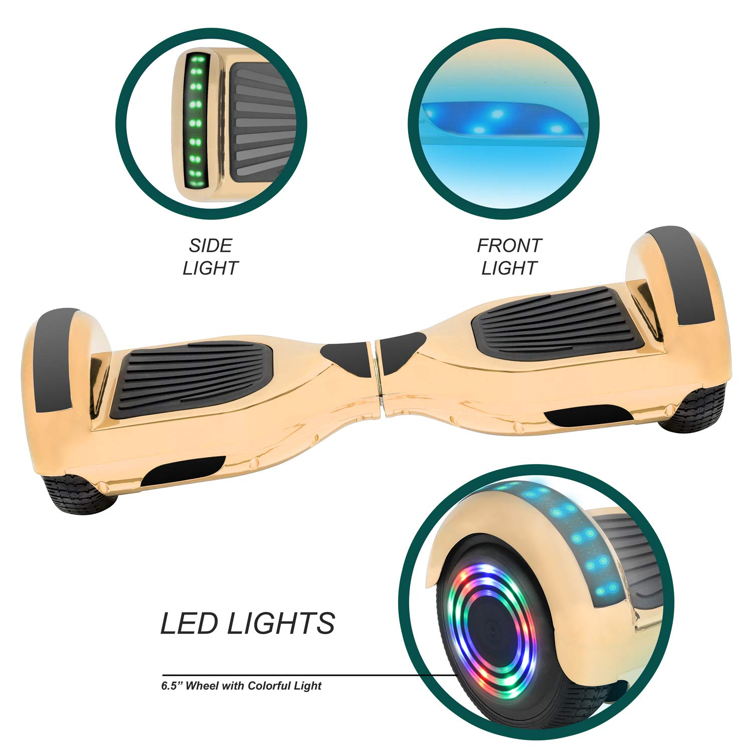 NHT 6.5'' Hoverboard Electric Self Balancing Scooter Sidelights - UL2272 Certified Black, Blue, Pink, Red, White (Chrome Gold) by NHT (Image #2)