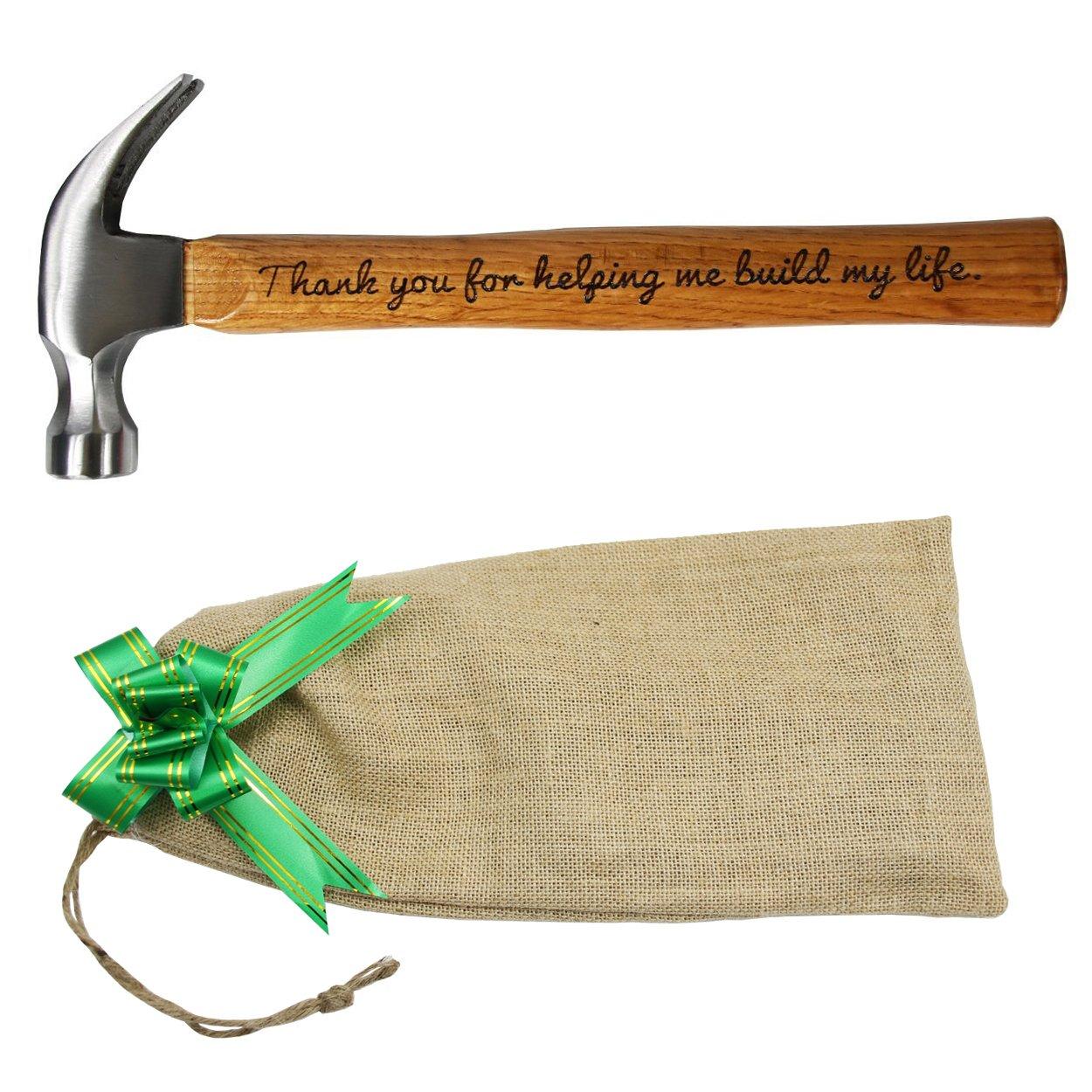 Cadeau pour la fê te des Pè res, marteau en acier avec manche en bois et inscription en anglais «  Thank you for helping me build my life » , de Langxun