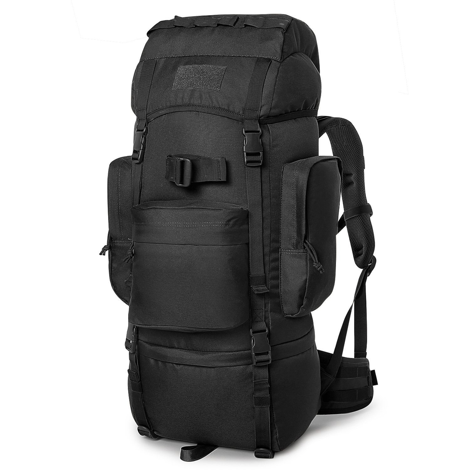 Mardingtop 60L Hiking Backpack Molle Internal Frame Backpacks with Rain Cover for Tactical Military Camping Hiking Trekking Traveling (M6223-Black-60L) by Mardingtop