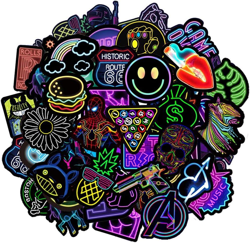 Jackify Paquete de Neon Pegatinas[50-Pcs], Graffiti Sticker Vinals para Portátiles, Automóviles, Motocicletas, Bicicletas, Monopatines, Etiquetas de Parachoques Bomba a Prueba de Agua