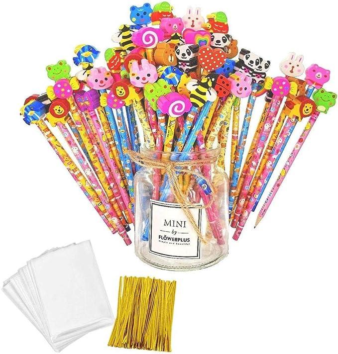 JZK Set 50 lápiz de madera con goma lápices grafito con borrador para niños infantiles fiesta regalo cumpleaños navidad bautizo comunión premios escolares: Amazon.es: Juguetes y juegos