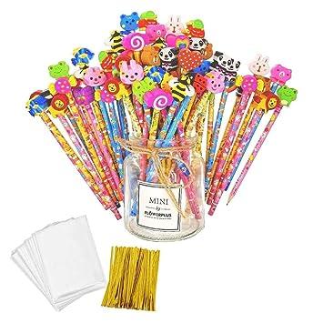 JZK Set 50 lápiz de Madera con Goma lápices Grafito con Borrador para niños Infantiles Fiesta Regalo cumpleaños Navidad Bautizo comunión premios ...