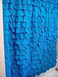 Amazon Waterfall Ruffled Fabric Shower Curtain RED
