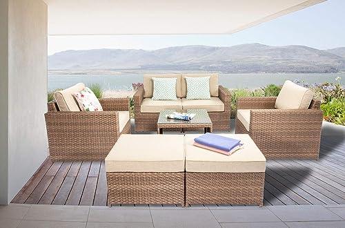 DIMAR garden 7 Piece Outdoor Wicker Patio Furniture Sofa Conversation Set