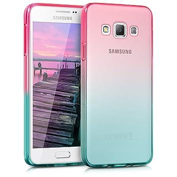 kwmobile Funda para Samsung Galaxy A3 (2015) - Carcasa para móvil de TPU con diseño Bicolor - Rosa Fucsia/Azul Mate