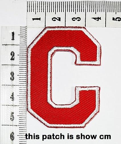 19d9a9a5e Amazon.com  Red letter C patch logo Sew On Patch Clothes Bag T-Shirt ...
