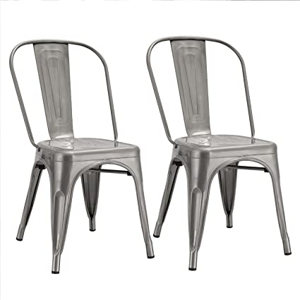 Joveco Sheet Metal Frame Tolix Style Stackable Industrial Bar Chairs With  Back   Set Of 2